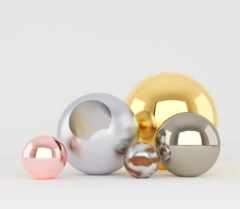 Rendered metallics spheres